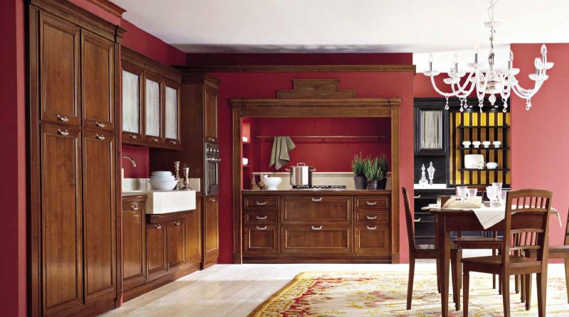 cucina tradizionale, cucina in legno vero