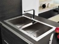 Lavello moderno in acciaio inox doppia vasca