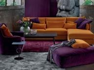divano con penisola, poltrona e puff