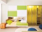 armadio con mobile trasformabile letto singolo - letto aperto