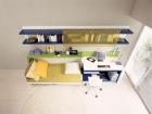 scrivania e mobile trasformabili letto singolo - letto aperto