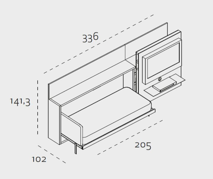 arredamento soggiorno trasformabile, arredo zona living trasformabile